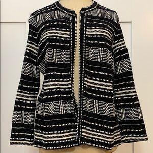 Loft Black and White Pattern Sweater Jacket